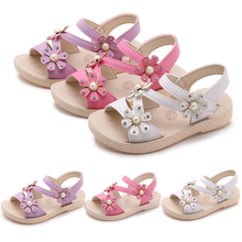 2019 New Summer Sandals Kids Girls Pink Flowers Princess Shoes Leisure Non-Slip Open Toe Flat Sandals modis melissa zapatos D30 new hot women flat shoes elasticity bohemia leisure lady sandals peep toe outdoor shoes 17mar13