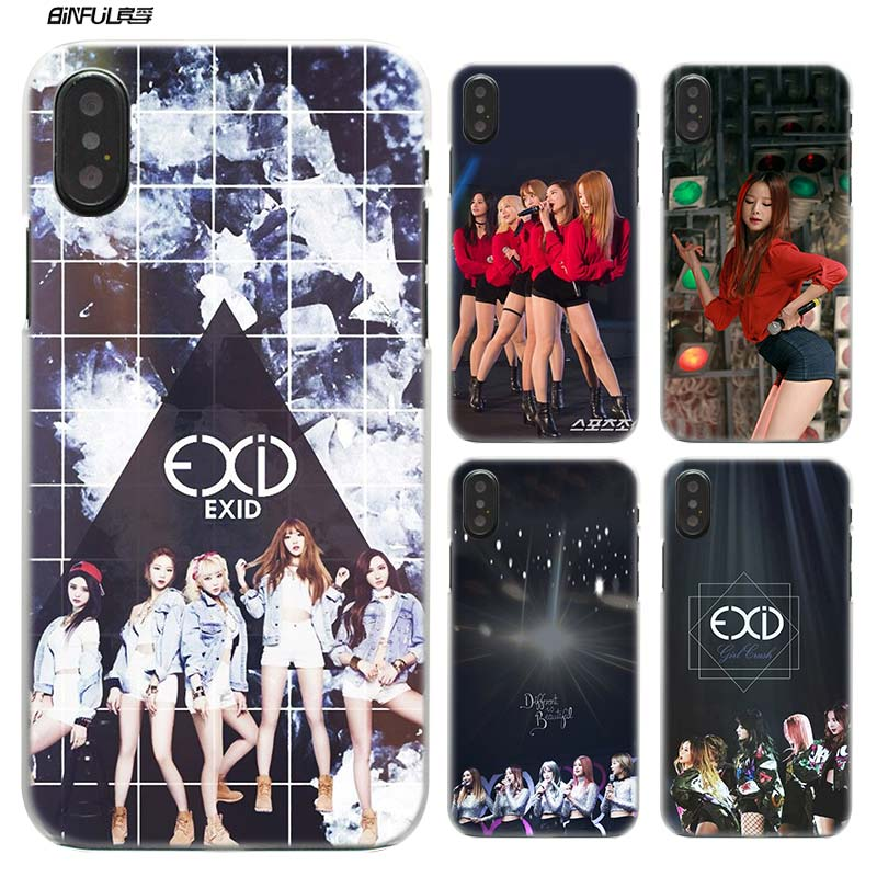 BiNFUL EXID KPOP girl Hard Plastic Clear Case Cover Coque for iPhone X or 10 6 6s 7 8 Plus 5s SE 5 4s 4 5c