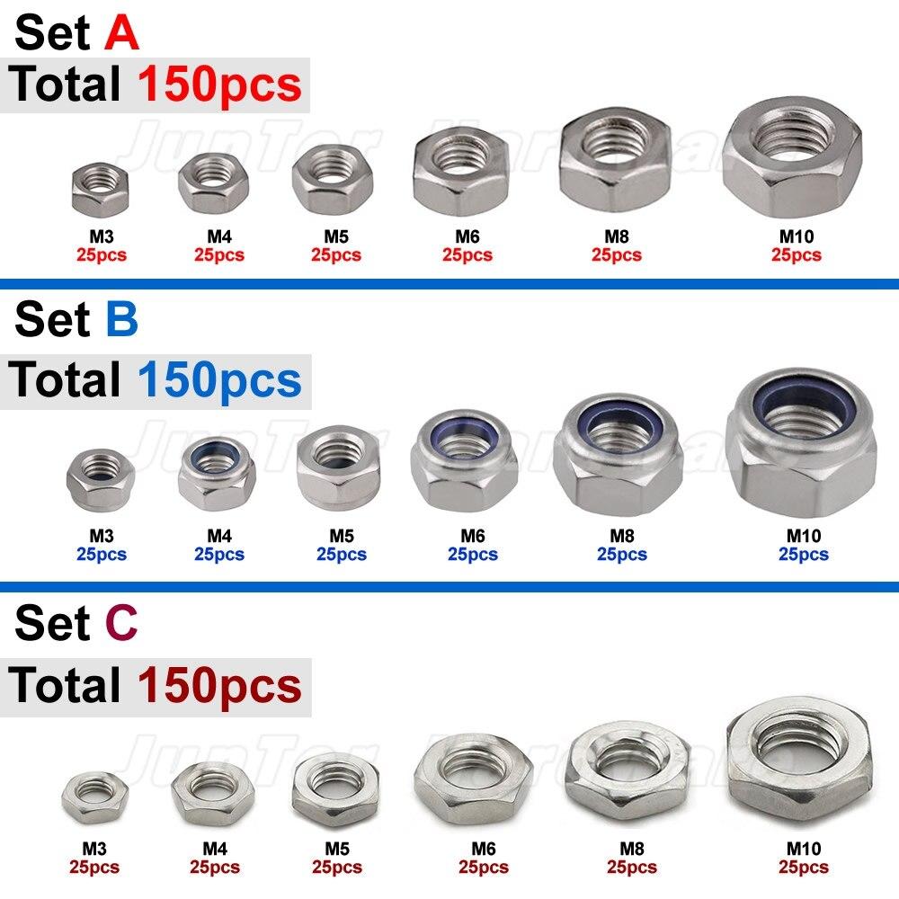 150pcs M3 M4 M5 M6 M8 M10 A2 Stainless Steel Hex Nuts Nylon Lock Nuts Hex Thin Nuts Assortment horusdy stainless steel lock nut sae nylon insert for industry tool 150pcs assortment kit