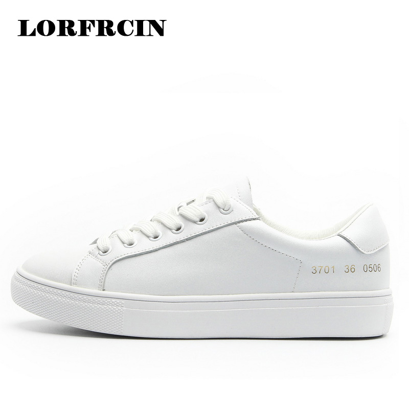 Women sneakers Creepers Platform Shoes Woman Leather White Casual Shoes Lace-Up Flat Shoes Ladies Flats Zapatos Mujer 2018 цена