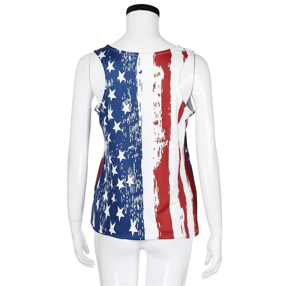 Eduavar Women Tank Top Sleeveless Casual Vest Patriotic Stripes Star O-Neck American Flag Print Tank Top
