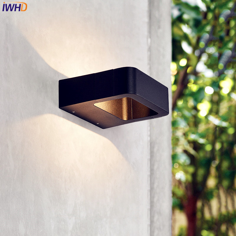 Iwhd Black 12w Modern Outdoor Wall Light Gate Blacony