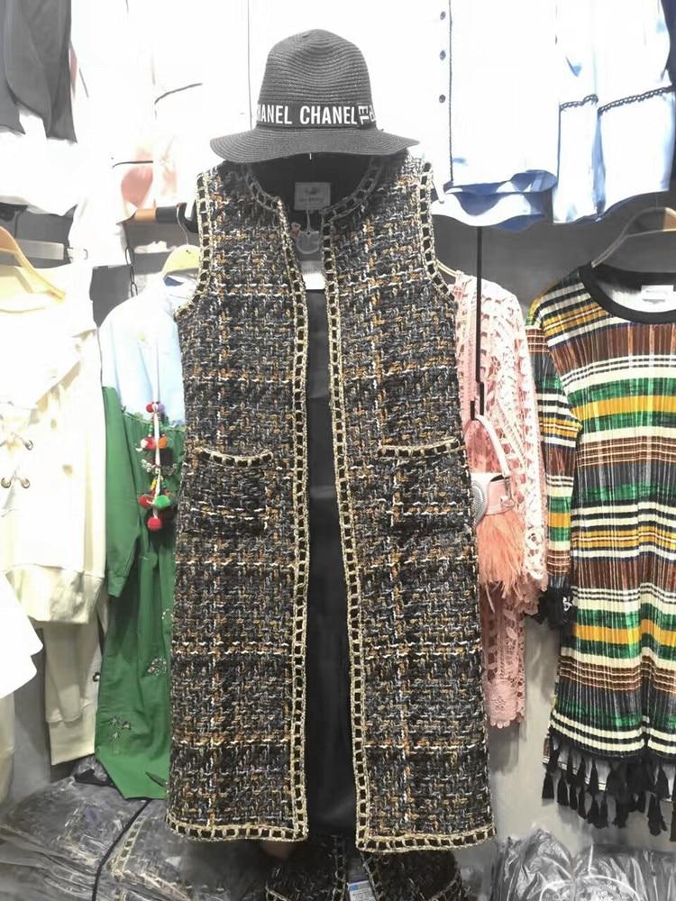 Mujer Veste Colete Gilet Dames Sans Haute Mode D'hiver Manches De Femmes Chalecos Élégante Qualité Femme Tweed AwnXqOB