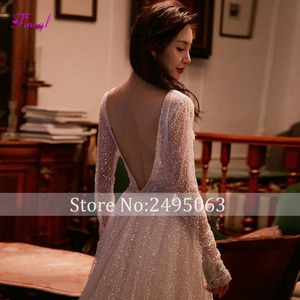 Image 3 - Fmogl Vestido de Noiva Sexy V neck Backless A Line Wedding Dress 2020 Gorgeous Voile Court Train Princess Bridal Gown Plus Size
