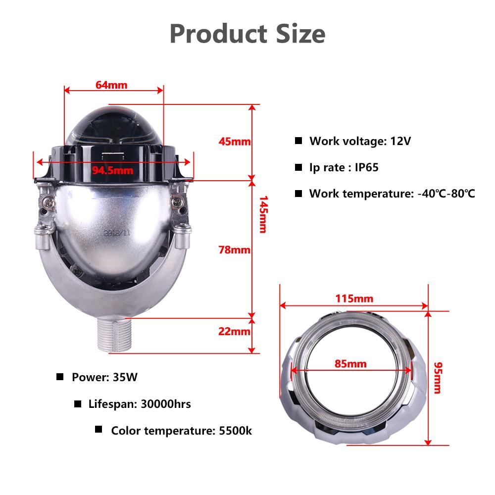 Sanvi 2.5 '' 35 W 5500 K Bi LED Projektör Lens Far Merhaba Düşük - Araba Farları - Fotoğraf 4