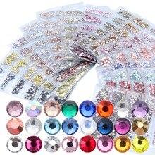 1728PCS Glass Multi-size Rhinestones for Nail Jewelry Art Mix size Crystal Rhinestone 3D Decorations