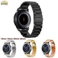 Нержавеющаясталь часы ремешок для samsung Шестерни Спорт S2 S3 Galaxy 42 мм 46 мм ремешок металлический браслет цвета черный/серебристый 22 мм 20 мм