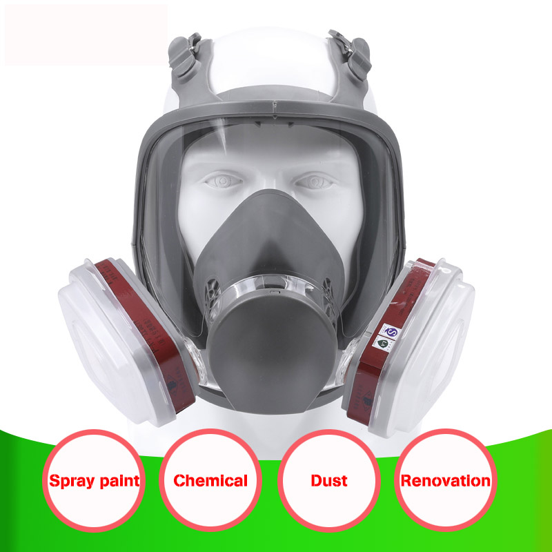 7in1 6800 Large View Full Gas Mask Full Facepiece Respirator Painting Spraying Silicone Mask 6001