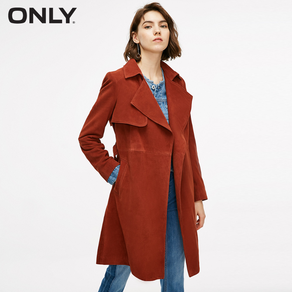 ONLY  Women's Suede Lace up Medium Style Lapel Leather Coat 118310537-in Leather Jackets from Women's Clothing    2