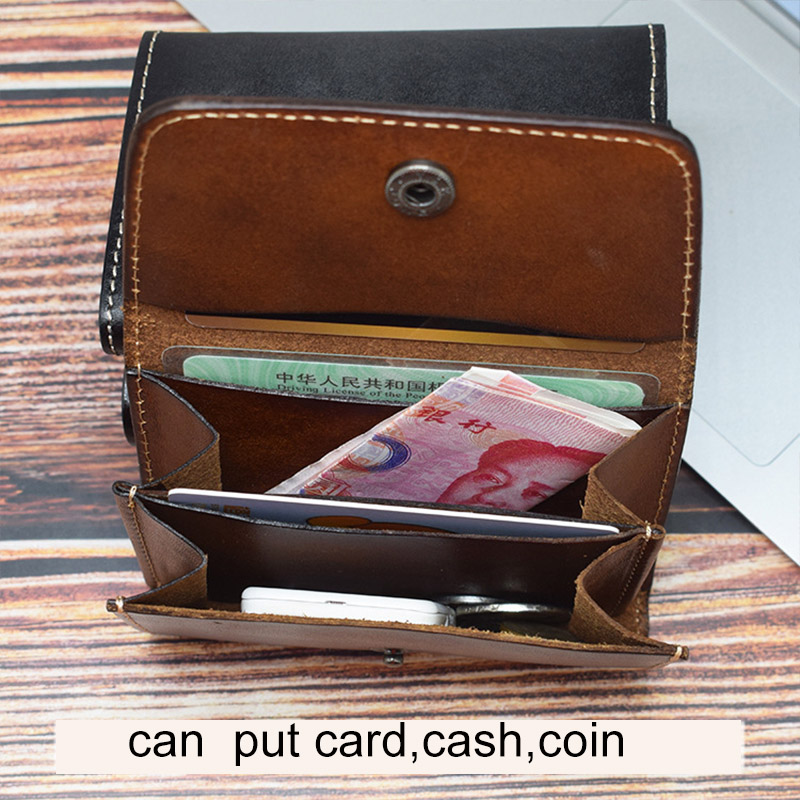 CICICUFF Brand Genuine Leather Card Holder Vintage Men Woman Small Mini Hasp Wallet coin purse Pocket Case Storage Bag Unisex