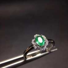 2017 hot sale green Emerald 925 Sterling Silver Engagement Ring For Women