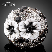 Chran Classic Design Rhodium Plated Fashion Rings Jewelry Accessories Wholesale Enamel Flower Crystal Wedding For Women