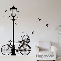 Street Lamp Bike Wall Sticker Bike Lamp Wall Decal DIY Decorating Modern Vinyl Wall Lamp Wallpaper Removable Wall Sticker M2