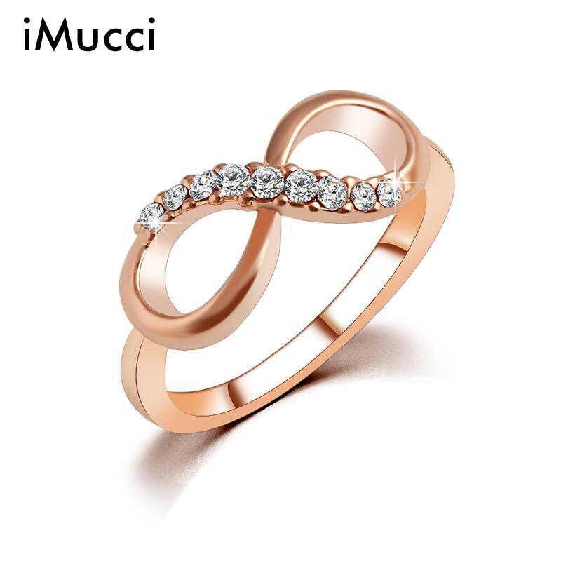 IMucci חדש עיצוב מכירה לוהטת אופנה סגסוגת קריסטל טבעות זהב צבע אינפיניטי טבעת תכשיטי הצהרת סיטונאי עבור תכשיטי נשים