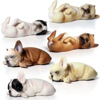 Classic French Bulldog Figurine Simulation Cute Puppy Animal Pet Dog Figures Statue 6Pcs/set Resin Craftwork Home Decor L3407