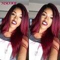 7А Ombre Бразильский Волос Weave 3 Связки Красный 99j Бордовый Бразильские Прямо Девственница Волосы Прямые Ombre Человеческих Волос