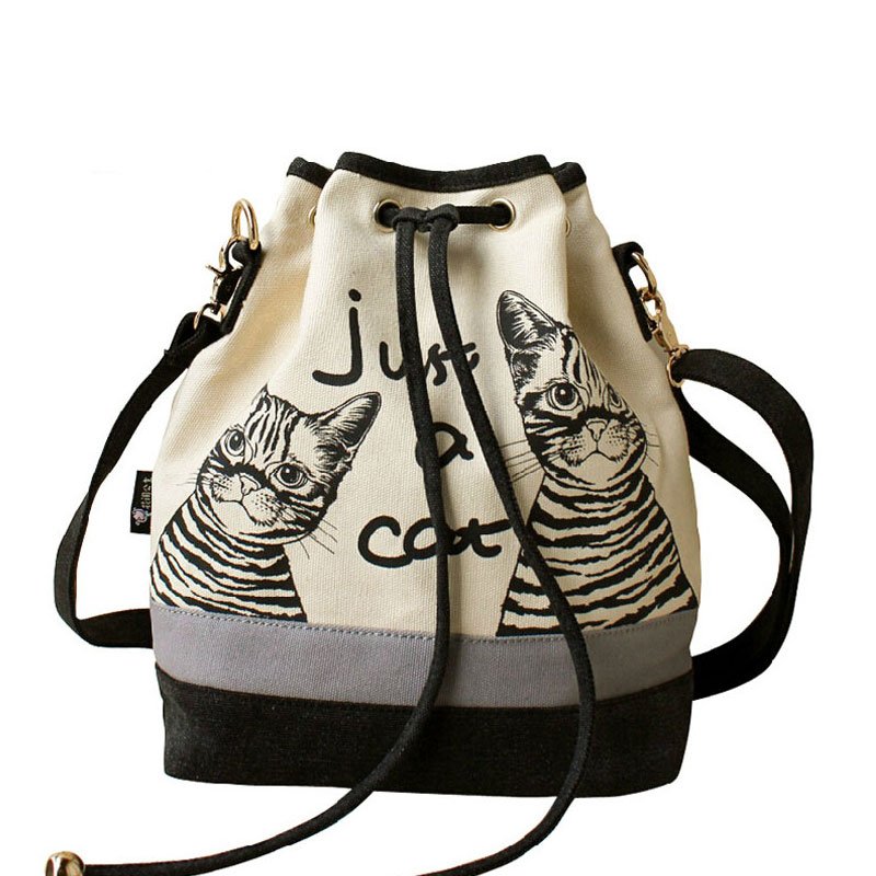 50Pcs/Lot Handbag Retro Canvas Shoulder Bag Vintage Print Cat Bags Bags Spanish Canvas Bucket Bag