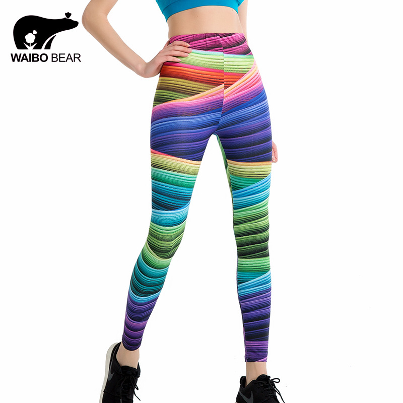Brand Women Candy Colors Striped Print Leggings Slim Workout High Waist Skinny Ukraine Trousers 2017 Summer Legins