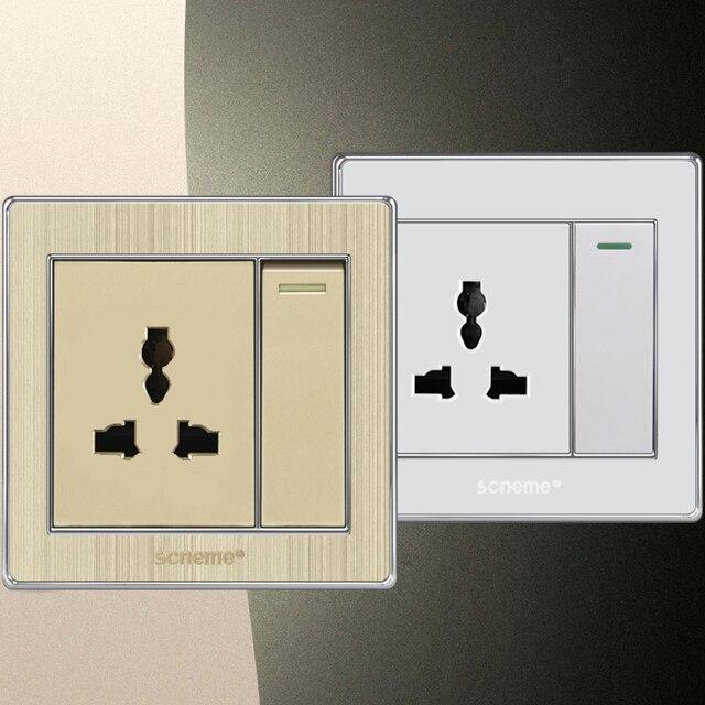 1 gang wall light switch and universal 3 Pin wall plug socket, White ...
