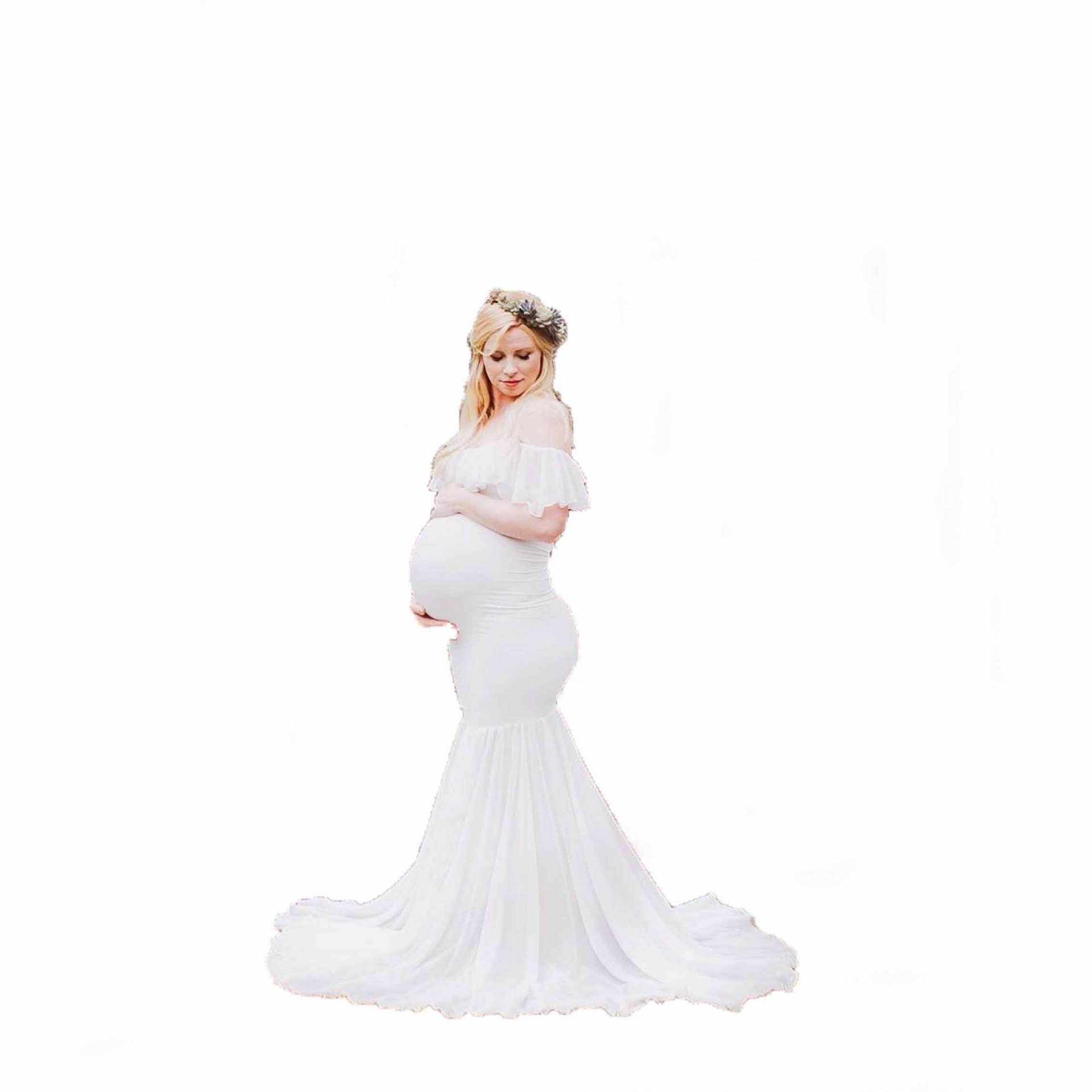 Ruffle Collar off shoulder Maternity Dress Photography Props Pregnancy Dress Photography For Photo Shoot Pregnant