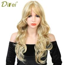 DIFEI Long Wavy Curly Blonde Wigs for Women Heat Resistant Synthetic Curly Cosplay Wigs Free Wig Cap(China)