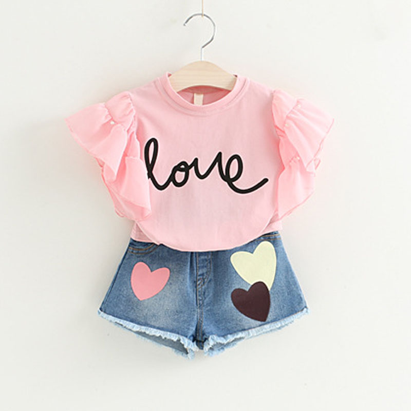 Summer Girls Clothing Sets 2018 New Letter Puff Sleeve Short Sleeve+Love Printed Denim Shorts 2Pcs Suit For Kids Clothing Sets button up frilled puff sleeve blouse