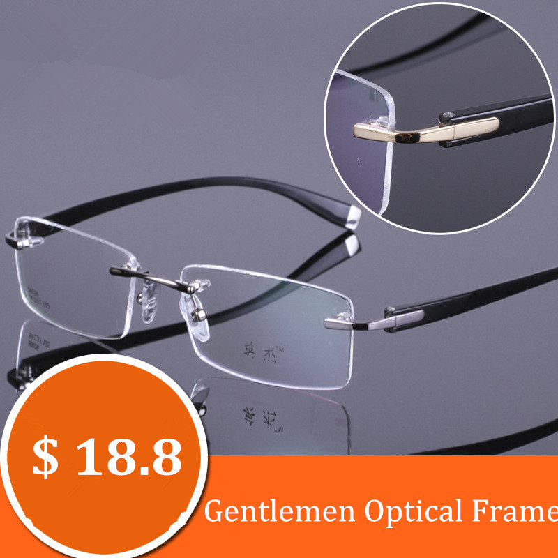 4b04ecedb2 Chashma marca caballeros óptico sin montura gafas de aleación marco TR 90  templo hombres gafas para Miopía