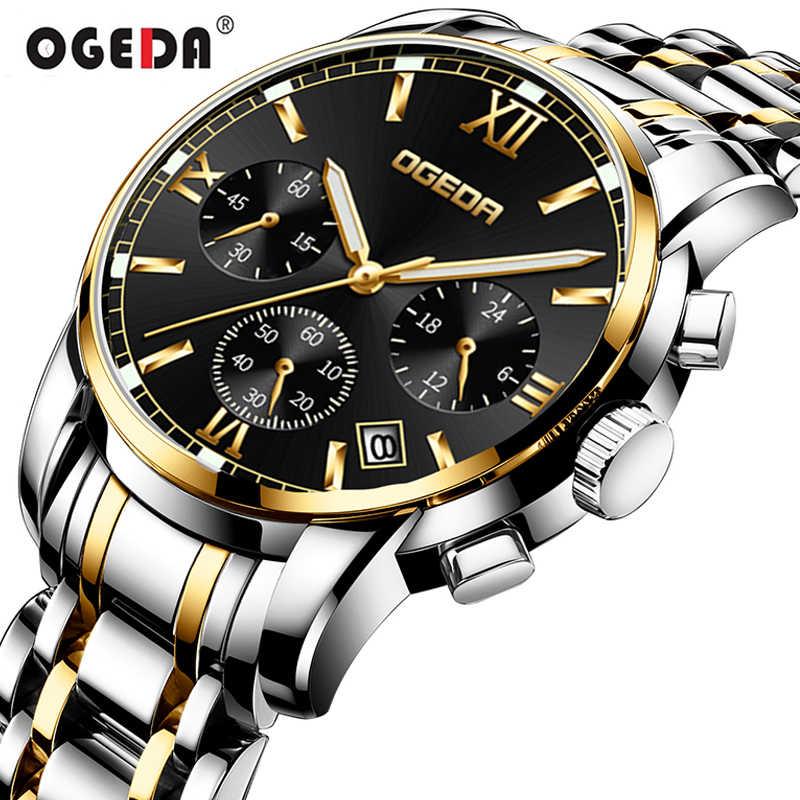 Montres hommes OGEDA marque hommes Sport montres hommes Quartz horloge décontracté affaires étanche montre-bracelet relogio masculino