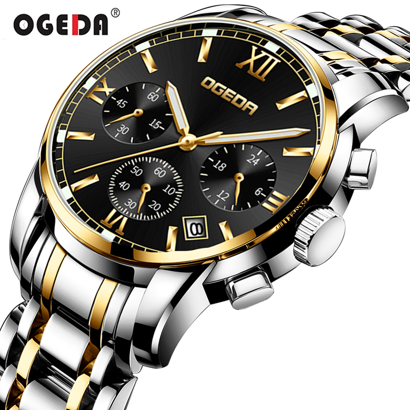Watches Men OGEDA Brand Sport Mens Quartz Clock Man Casual Business Waterproof Wrist Watch relogio masculino