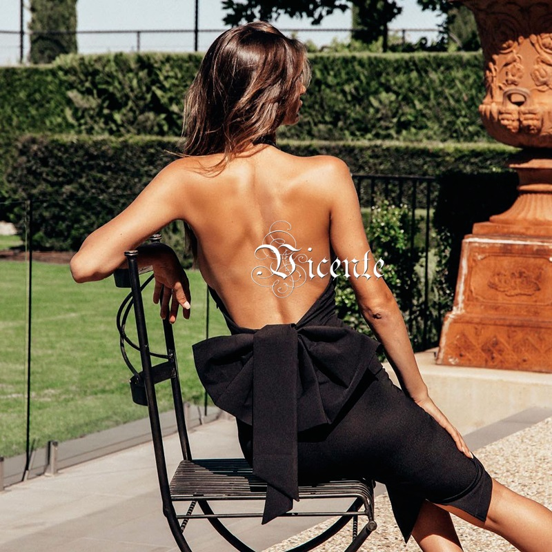Vicente 2019 New Trendy Halter Embellished Sleeveless  Design Backless Bow Celebrity Party Club Dress-in Dresses from Women's Clothing    3
