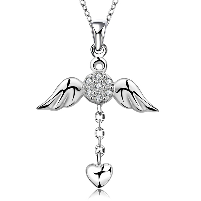 c3eb88f9f7689 SPCN674 925 Sterling Silver Angel Wings Heart Necklace Pendant For Women  With Natural Stone Female 925 Sterling Silver Jewelry