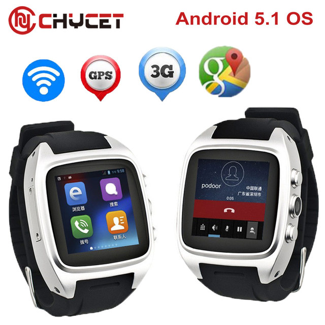 "Chycet X01 Android 5.1 Smart Watch MTK 6572 Dual Core 1.54 ""экран 512 МБ оперативной памяти 4 ГБ ROM сим-карта Bluetooth 3 г WI-FI Камера GPS часы"