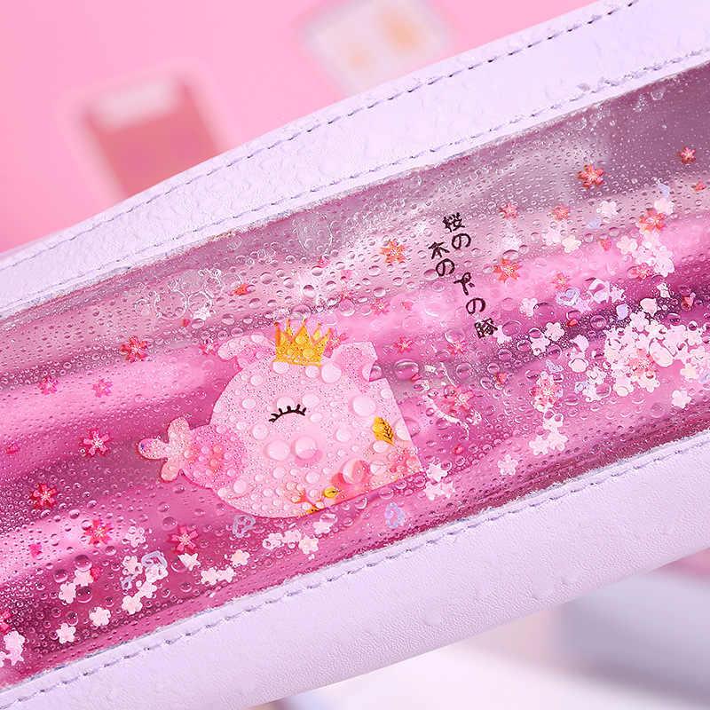 Cute Pvc Water Liquid Pig Cartoon Animal Kawaii Pencil Bag & Case for Kid School Supplies Stationery Storage Bag Wholesale