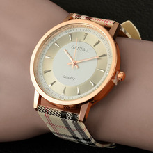 2016 New Brand geneva watch women wrist watches Women quartz-watch Plaid Leather designer ladies clock fashion quartz watch