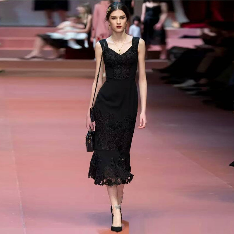 2016 Nouvelle Arrivée Faite sur commande De Bal Robes Sans Manches Noir Dentelle Thé-Longueur Élégant Sexy D'été de Soirée Partie Robes