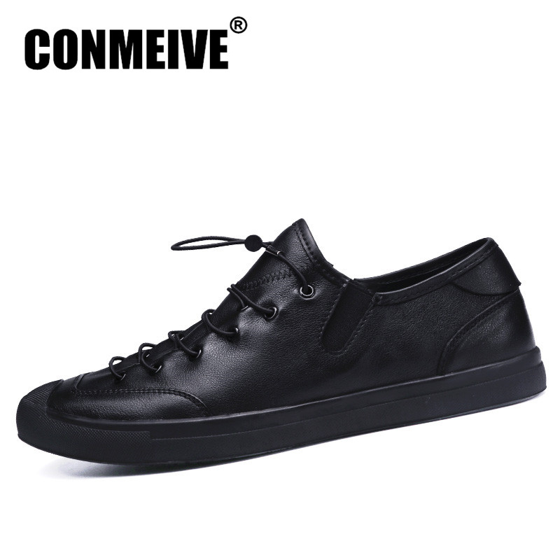 Promotion Black Casual Men Shoes Genuine Leather Brand Cow Soft Mens Flat Leisure Superstar Handmade Flats Male Authentic Shoe