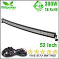 FREE SHIPPING 52'' inch combo waterproof IP67 double rows off road car work 300w curved led light bars