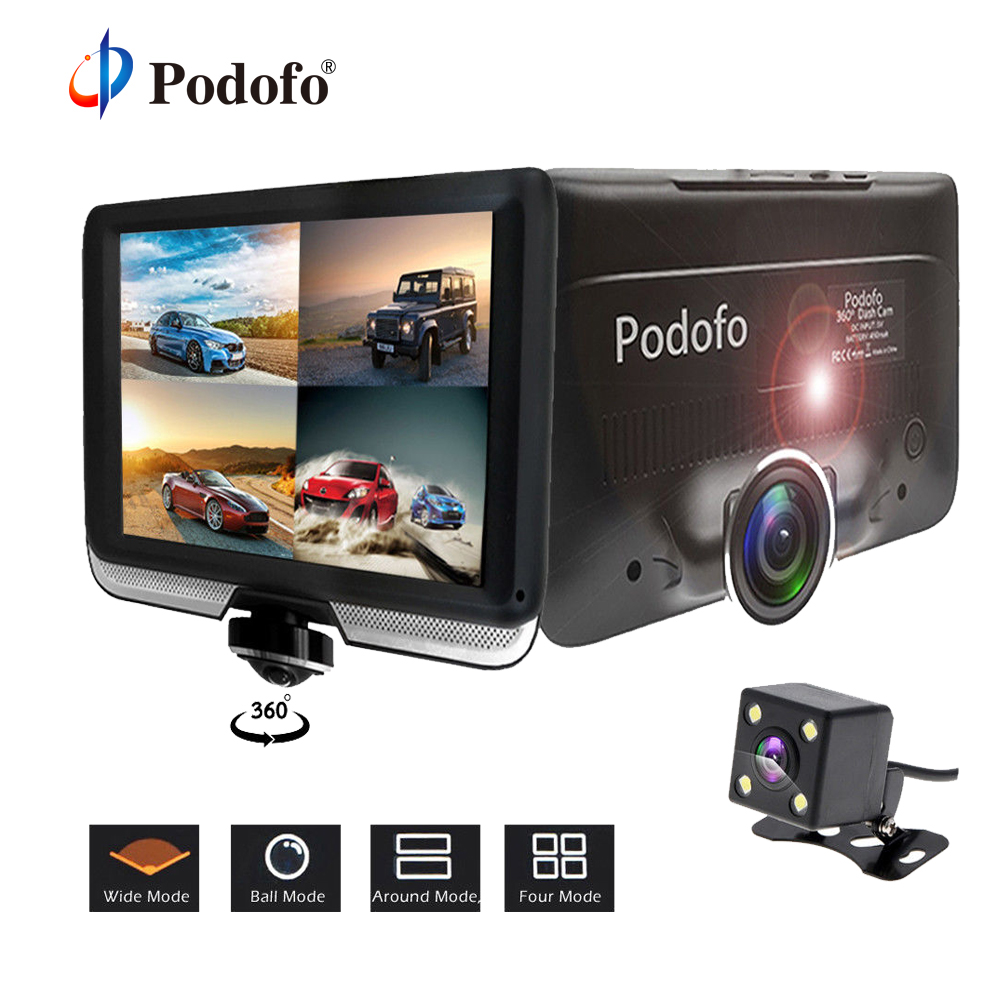 Podofo 360 degree Car DVR Dual Lens Dash Cam 4 inch FHD 1080P Touch Screen Video Recorder Camcorder with Rear View Camera