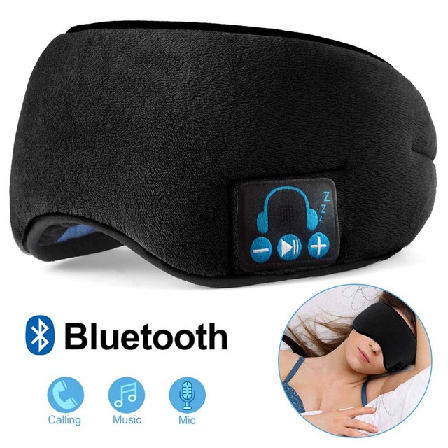 JINSERTA Wireless Bluetooth 5.0 Stereo Earphone Soft Washable Sleeping Eye Mask Headset Music Player with Mic Support Handsfree