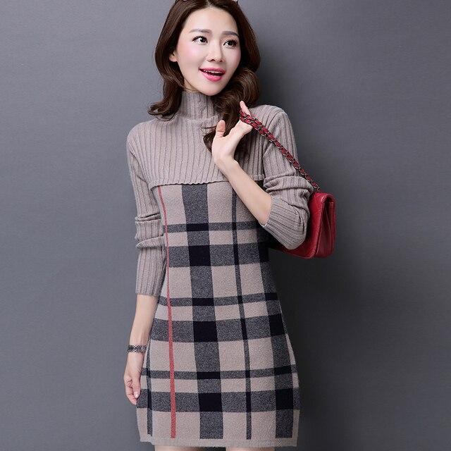 99c4fb8f229 Turtleneck Plaid Long Sweater Dress for Woman Autumn Winter Patchwork Fashion  Slim Computer Knitted Woolen Dress