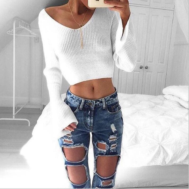Модные женские туфли Повседневное с длинным рукавом Трикотажный пуловер