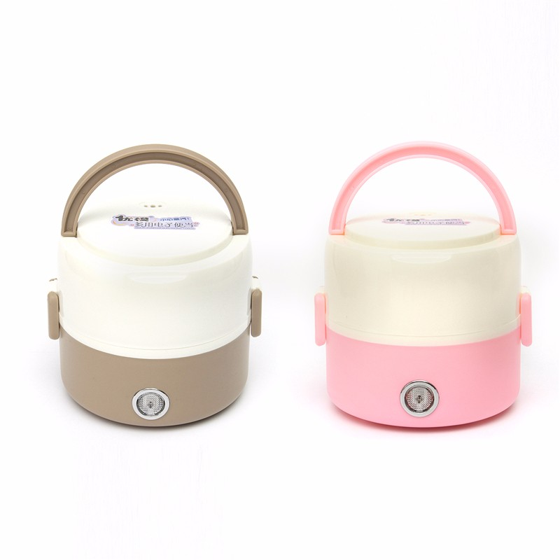 Portable 1.2L Mini Electric Food Warmer Portable Heated Box Lunch Box Food Warmer Bento Box Compact 2 layers stainless steel 220v 600w 1 2l portable multi cooker mini electric hot pot stainless steel inner electric cooker with steam lattice for students