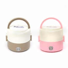 Portable 1.2L Mini Electric Food Warmer Portable Heated Box Lunch Box Food Warmer Bento Box Compact 2 layers stainless steel