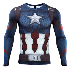 Image 2 - Avengers: Endgame Costume Tights Captain America T shirt Steve Rogers Top Costumes Cosplay Superhero Halloween Party Prop