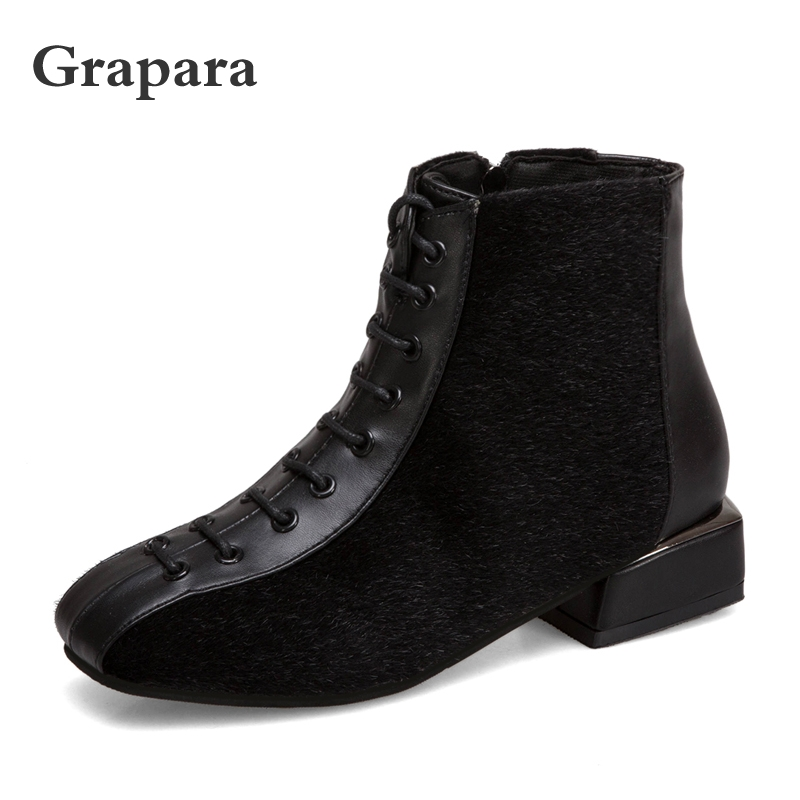 New Leather Ankle Boots Women Shoes Woman Plus Size Plush Women Boots Fashion Lace Up Low Heels Winter Boots Botas Mujer Grapara цена 2017