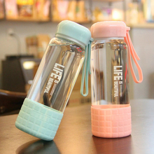 450ml Sport Style Glass Water Bottle Portable Bicycle Tour  Transparent Office