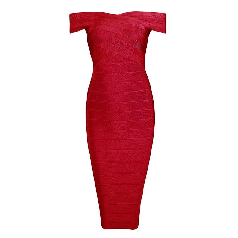 INDRESSME Sexy épaule dénudée femmes Bandage robe élégante Slash cou genou longueur moulante dos nu robe de soirée Vestidos 2019 nouveau - 5