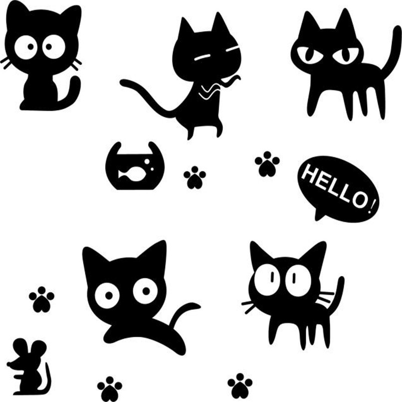 3D Black Cat Wall Stickers Romance Decoration Wall Poster Home Decor DIY For Kids Rooms Wholesales Free Shipping RJL13 #1T3