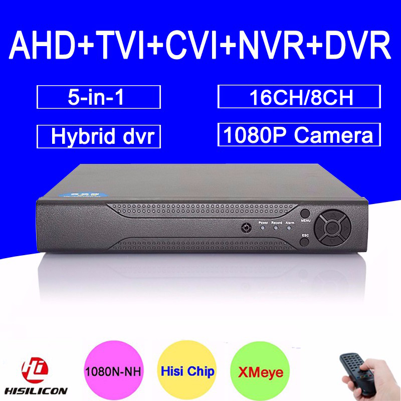 Hi3521A 16CH/8CH 1080P/1080N/960P/720P/960H 5 in 1 Hybrid TVi CVI NVR AHD DVR Surveillance Video Recorder Free shipping Russia