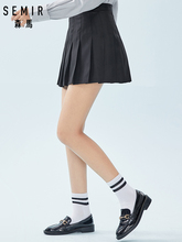 SEMIR Womens Checked Pleated Skirt in French Style with Concealed Zip at Side Women's Retro Mini Skirt for Spring Autumn Fashion